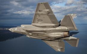 "Picture the sky, fighter, bomber, Lightning II, F-35, ""Lightning"" II"