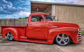 Picture red, hdr, red, pickup, CHEVY, LOWRIDER