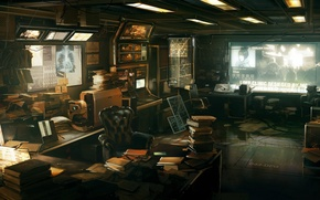 Picture science, books, office, Deus Ex: Human Revolution