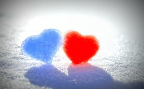 Picture winter, snow, love, blue, red, background, widescreen, Wallpaper, mood, heart, wallpaper, red, love, heart, heart, …