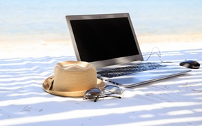Picture beach, summer, stay, hat, glasses, laptop, summer, beach, vacation, vacation, accessories