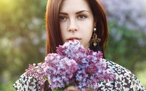 Picture girl, sunset, flowers, spring, beautiful, woman, lilac, pretty, spring