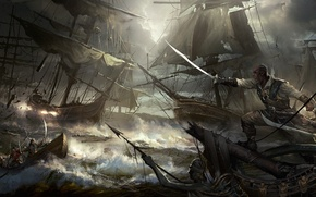 Picture sea, boat, ships, storm, battle, pirates, saber