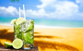 Picture sea, beach, cocktail, lime, beach, fresh, sun, sand, drink, mojito, cocktail, lime, Mojito, tropical