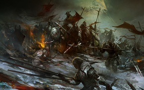 Wallpaper fire, blood, warrior, flags, wound, corpses, undead, Army