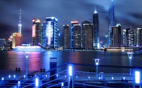 Picture skyscrapers, Shanghai, the city, China, lights, China, Pudong, night, Huangpu, promenade, the Jin Mao tower, ...