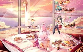 Picture sea, flower, the sun, clouds, landscape, sunset, mountains, table, food, wings, the evening, anime, kettle, …