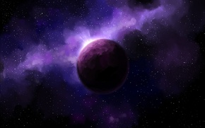 Picture space, stars, nebula, planet, glow, space