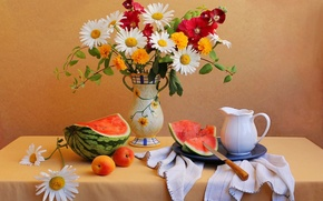 Picture vase, flowers, watermelon, table, bouquet, apricot, still life, knife, pitcher