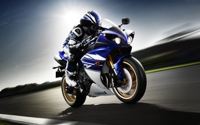 Picture speed, motorcyclist, Yamaha, front, Yamaha, YZF-R1, sport bike