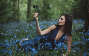 Wallpaper girl, butterfly, flowers, Amy Spanos