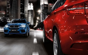 Picture road, blue, red, the city, BMW, lights, bmw x5, the opposite