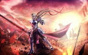 Picture fragments, flame, Girl, sword, armor, battle, knight, storm