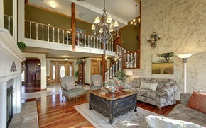 Picture flowers, design, interior, ladder, pictures, fireplace, living room, chandelier sofa