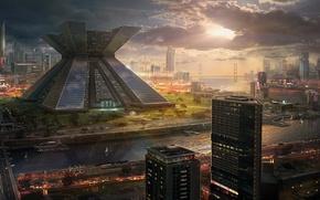 Picture sunset, bridge, the city, future, river, building, skyscrapers, art, megapolis