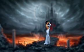 Picture girl, the way, castle, dress, art, lava, Marina, Bogdan Gudak, Invitation to Hell