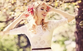 Picture girl, spring, happiness, beauti