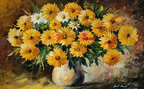 Wallpaper Leonid Afremov, painting, vase, flowers, bouquet