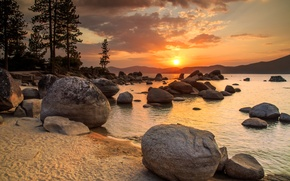 Picture sand, landscape, sunset, lake, stones, shore