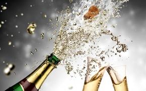 Picture squirt, glasses, glass, champagne, splash, champagne
