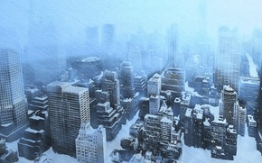 Picture cold, ice, winter, snow, the city, view, home, skyscrapers, the snow, Blizzard