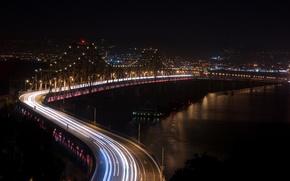 Picture road, night, bridge, river