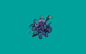 Picture minimalism, sword, flag, octopus, tentacles, headband, spear, octopus