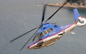 Picture sea, flight, turn, helicopter, Eurocopter