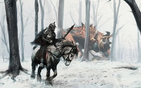 Picture forest, horse, people, monster, warrior, art, rider