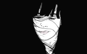 Picture girl, black, minimalism, vector, porter
