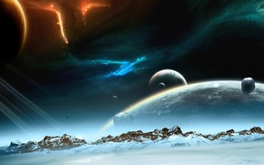 Wallpaper planet, snow, mountains, lights, space, stars