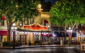 Picture HDR, Disneyland, home, trees, Anaheim, the city, street, night, photo, lights, CA, USA