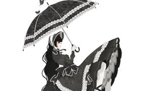 Wallpaper girl, butterfly, umbrella, bows, Quinceanera dresses, Gothic Lolita, Gothic lolita