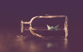 Wallpaper water, drops, bottle, paper boat