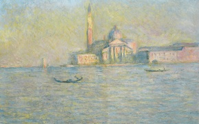 Picture landscape, boat, picture, Church, Venice, channel, gondola, Claude Monet