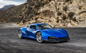 Picture road, mountains, blue, supercar, car, road, mountain, Rezvani, Beast Alpha