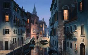 Picture the city, Italy, Venice, channel, painting, Italy, gondola, painting, Venice, Eugene lushpin, eugeny lushpin, lushpin, …