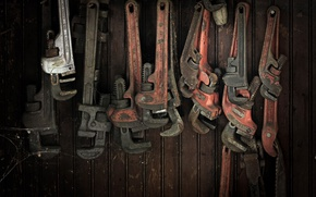 Wallpaper background, wrenches, workshop
