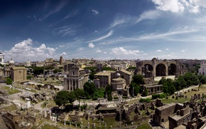 Picture landscape, Rome, Italy, panorama, the ruins, ruins, Forum