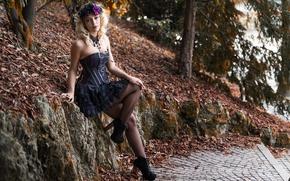 Picture look, girl, style, dress, legs, Deborah