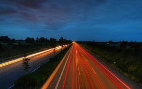 Wallpaper night road, Hai Wei, high way, night, landscape