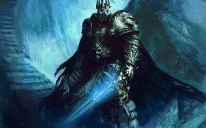 Picture sword, stage, helmet, armor, wow, world of warcraft, arthas, lich king, fanart