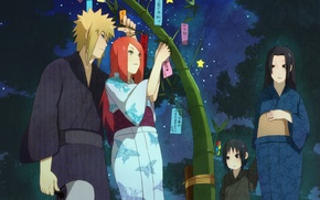 Picture naruto, anime, night, art, Itachi, holiday, bamboo, Minato, Kushina, Mikota
