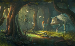 Picture forest, girl, trees, birds, fantasy, wolf, art