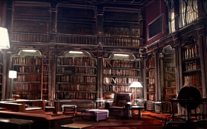 Picture interior, library, kafka library, by gryphart