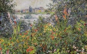 Wallpaper landscape, picture, Claude Monet, Flowers in Vétheuil
