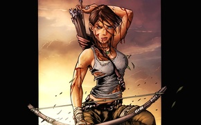 Picture girl, sunset, weapons, bow, Lara Croft, arrows, quiver, game wallpapers, Lara Croft, Tomb Raider, Tomb …