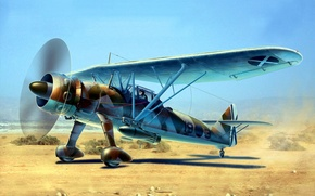 Picture war, art, airplane, painting, aviation, HS 126A-1