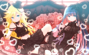 Picture girls, pillow, anime, hearts, Holy Podas, Panty And Stocking With Garterbelt, Shaking, Chalco