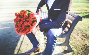 Picture roses, bouquet, male, guy, the young man